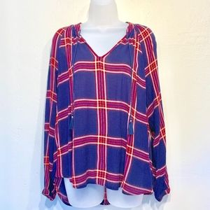Lucky Brand Plaid Peasant Tassel Blouse